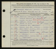 Entry card for Jeffery, Charles Bartley for the 1944 May Show.