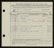 Entry card for Kingman, Alice E. for the 1944 May Show.