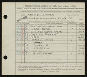Entry card for Kitner, Harold for the 1944 May Show.