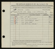 Entry card for Land, Jerome for the 1944 May Show.