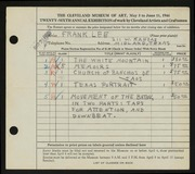 Entry card for Lee, Frank for the 1944 May Show.
