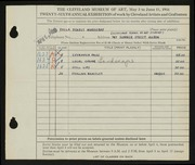 Entry card for Marggraf, Zella Eckels, and Cleveland School of Art for the 1944 May Show.