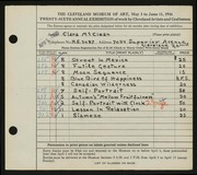 Entry card for McClean, Clara for the 1944 May Show.