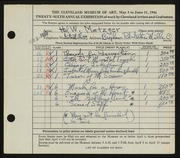 Entry card for Metzger, Hal W. for the 1944 May Show.