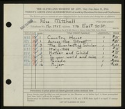Entry card for Mitchell, Rose for the 1944 May Show.
