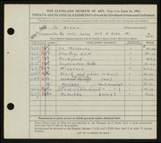 Entry card for Natko, Jo for the 1944 May Show.