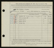 Entry card for Nepodal, Virginia for the 1944 May Show.