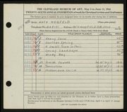 Entry card for Neufeld, Kate for the 1944 May Show.