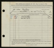 Entry card for Novotny, John for the 1944 May Show.