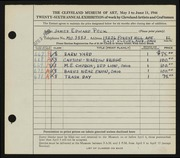 Entry card for Peck, James Edward for the 1944 May Show.