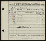 Entry card for Petrie, Erwin C. for the 1944 May Show.