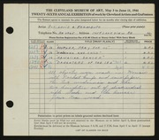Entry card for Regalbuto, Louis A. for the 1944 May Show.
