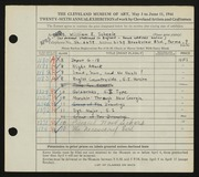 Entry card for Scheele, William E. for the 1944 May Show.
