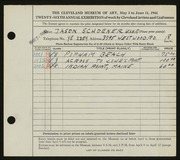 Entry card for Schoener, Jason for the 1944 May Show.