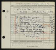 Entry card for Shaw, Elsa Vick for the 1944 May Show.