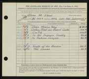Entry card for Shaw, Glenn M. for the 1944 May Show.
