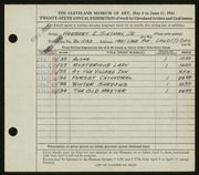 Entry card for Sietman, Herbert E., Jr. for the 1944 May Show.