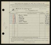 Entry card for Silberger, Manuel G. for the 1944 May Show.