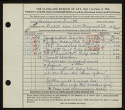 Entry card for Smith, Desdamona for the 1944 May Show.