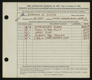 Entry card for Smith, Dorman H. (Dorman Henry) for the 1944 May Show.