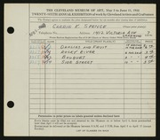 Entry card for Spence, Carrie for the 1944 May Show.