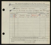 Entry card for Janicki, Hazel for the 1944 May Show.