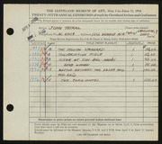 Entry card for Teyral, John for the 1944 May Show.