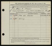 Entry card for Thayer, Allyn K. for the 1944 May Show.