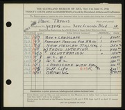 Entry card for Travis, Paul Bough for the 1944 May Show.