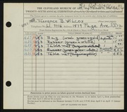 Entry card for Wilcox, Florence Bard for the 1944 May Show.