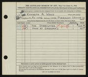 Entry card for Wood, Kenneth A. for the 1944 May Show.