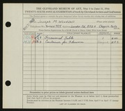 Entry card for Wooddell, Joseph M. for the 1944 May Show.