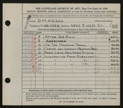 Entry card for Allison, D. M. for the 1945 May Show.