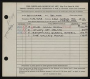 Entry card for Black, Miriam H. for the 1945 May Show.