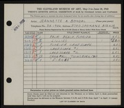 Entry card for Bohdal, Jeannette Antonia for the 1945 May Show.