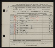 Entry card for Bookatz, Samuel for the 1945 May Show.
