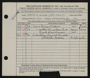 Entry card for Bunce, Marie R. for the 1945 May Show.