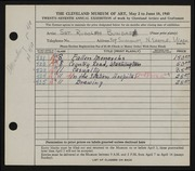 Entry card for Bundasz, Rudolph for the 1945 May Show.