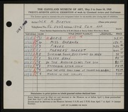 Entry card for Burton, Jack Munson for the 1945 May Show.
