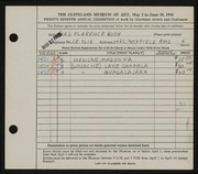 Entry card for Bush, Florence Reid for the 1945 May Show.