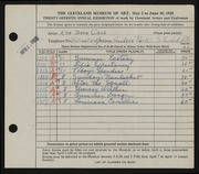 Entry card for Cass, Katherine Dorn for the 1945 May Show.