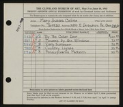 Entry card for Collins, Mary Susan for the 1945 May Show.