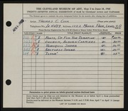Entry card for Cook, Thomas C. for the 1945 May Show.