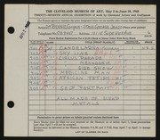 Entry card for Cooper, Dr. Bernard Henry, and Jenso, George; Jenso, Steve for the 1945 May Show.