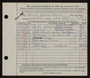 Entry card for David, Adeline Wilkens for the 1945 May Show.