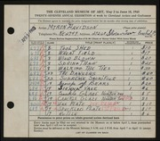 Entry card for Davidson, Myron Russell for the 1945 May Show.