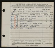 Entry card for Day, Ronald Nelson for the 1945 May Show.