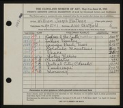 Entry card for Eastman, William Joseph for the 1945 May Show.