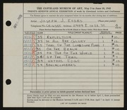 Entry card for Esses, Joseph J. for the 1945 May Show.