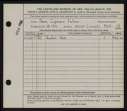 Entry card for Fallon, Jane Iglauer for the 1945 May Show.